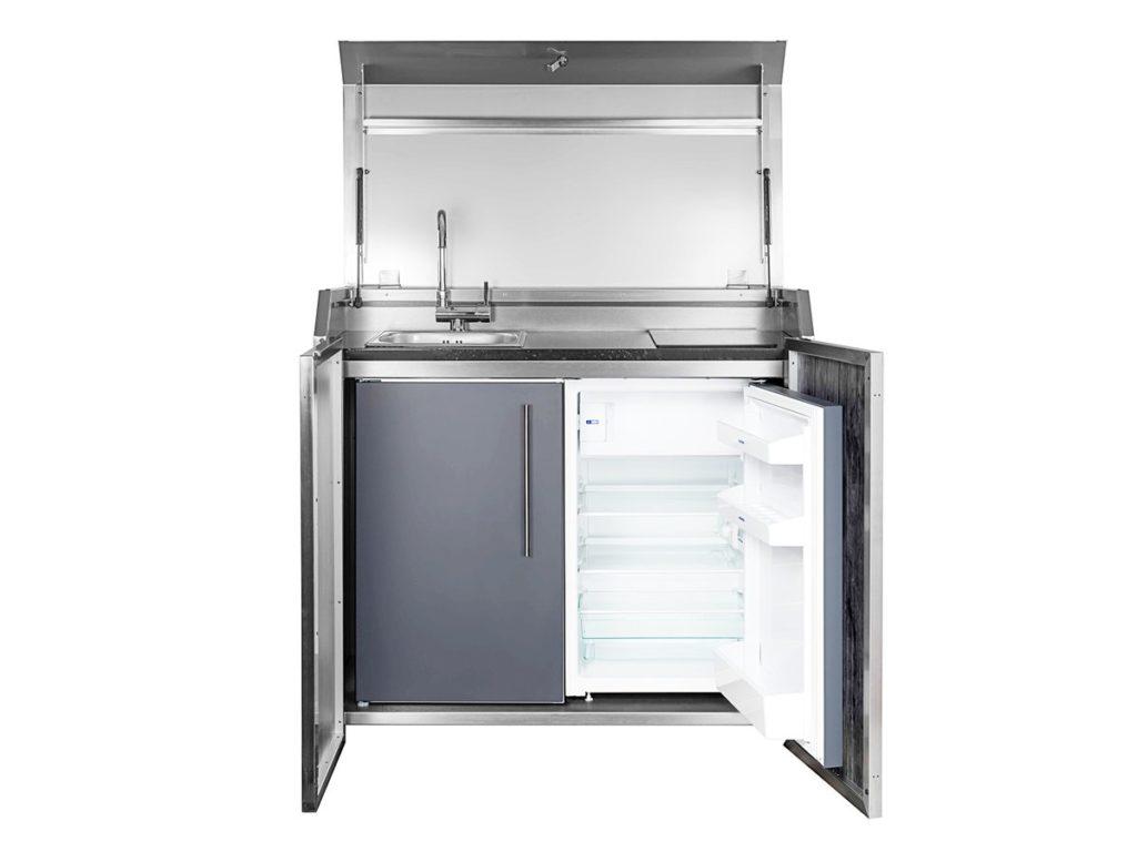 Stengel Outdoorküche und Unterbau mit Kühlschrank offen Ansicht 2