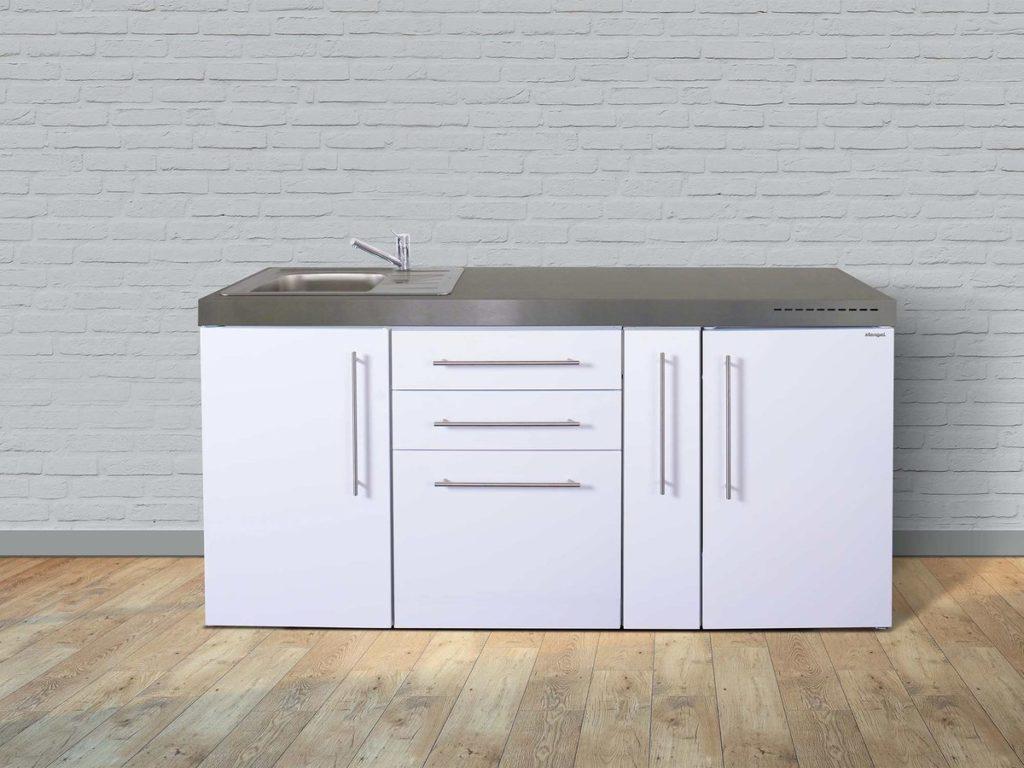 Stengel Miniküche Premiumline 180 mit Kühlschrank weiß