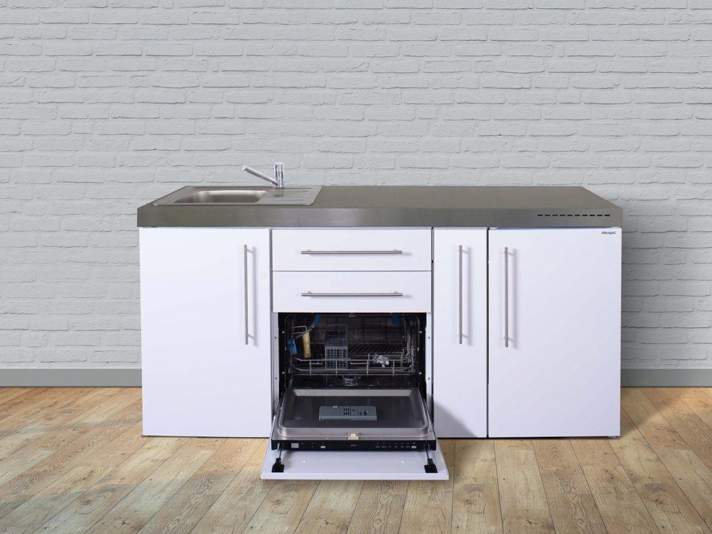 Stengel Miniküche Premiumline MPGS 180a mit Kühlschrank und Geschirrspüler weiß
