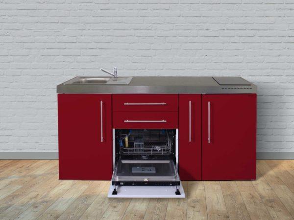 Stengel Miniküche Premiumline MPGS 180a mit Kühlschrank und Geschirrspüler rot