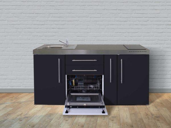 Stengel Miniküche Premiumline MPGS 180a mit Kühlschrank und Geschirrspüler schwarz