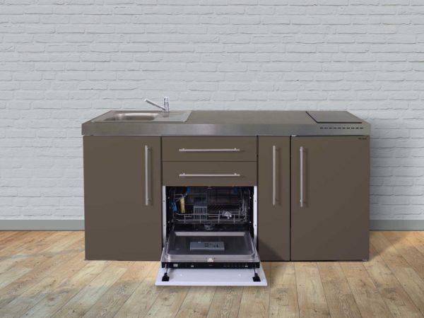 Stengel Miniküche Premiumline MPGS 180a mit Kühlschrank und Geschirrspüler mocca