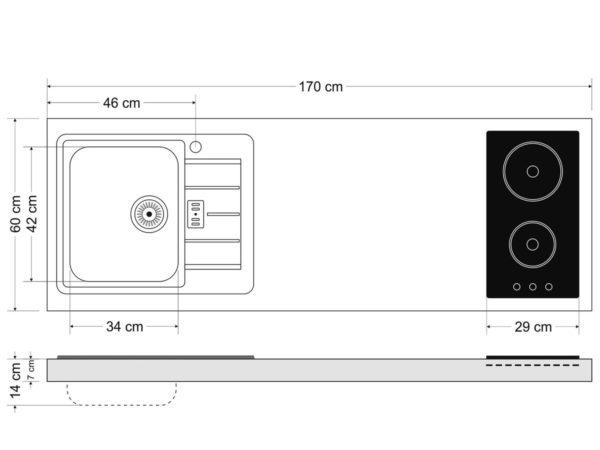Abmessungen Stengel Miniküchen Premiumline MPGSM 170 mit Kühlschrank