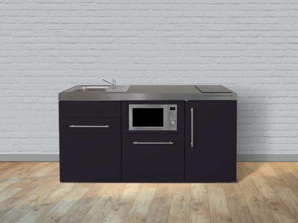 Stengel Miniküche Premiumline MPGSM 170 schwarz mit Kühlschrank und Geschirrspüler