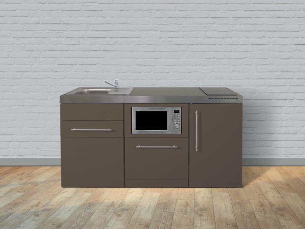Stengel Miniküche Premiumline MPGSM 170 braun mit Kühlschrank und Geschirrspüler