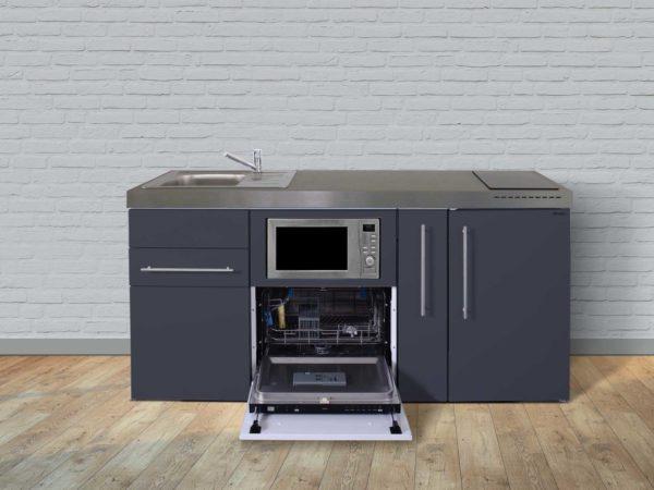 Stengel Miniküche Premiumline MPGSM 180 grau mit Kühlschrank