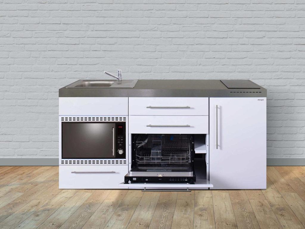 Stengel Miniküche MPGSMOS 180 weiß mit Mikrowelle und Geschirrspüler
