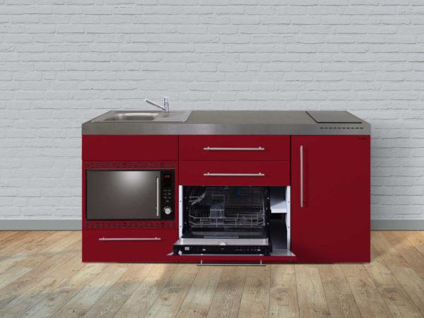 Stengel Miniküche MPGSMOS 180 rot mit Mikrowelle und Geschirrspüler