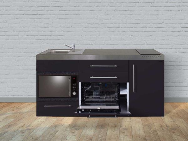 Stengel Miniküche MPGSMOS 180 schwarz mit Mikrowelle und Geschirrspüler