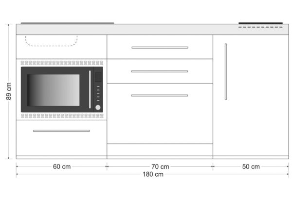 Abmessungen Stengel Miniküche Premiumline mit Kühlschrank