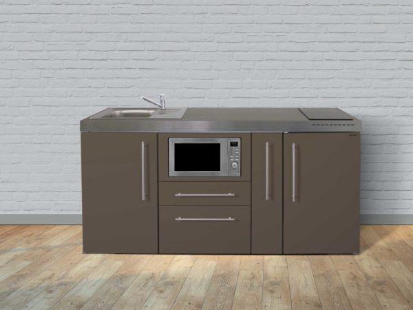 Stengel Miniküche Premiumline MPM 180a mit Kühlschrank und Mikrowelle mokka
