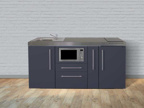 Stengel Miniküche Premiumline MPM 180a mit Kühlschrank und Mikrowelle grau