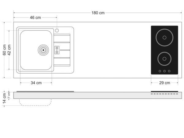 Arbeitsfläche Stengel Miniküche 180a mit Kühlschrank und Mikrowelle