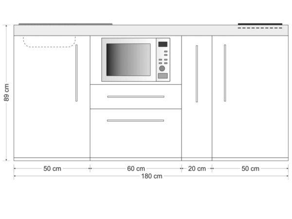 Abmessung Premiumline 180a mit Kühlschrank und Mikrowelle