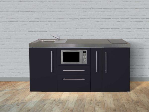 Stengel Miniküche Premiumline MPM 180a mit Kühlschrank und Mikrowelle schwarz