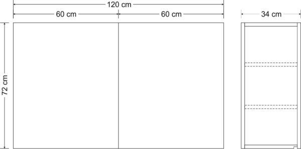 Abmessungen Hängeschrank Premium HSPL 120 Stengel