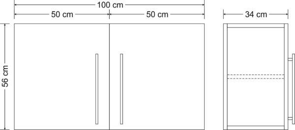 Abmessungen Hängeschrank Premium HSPL 100 Stengel
