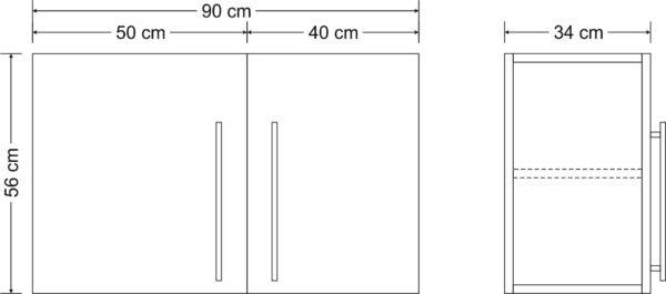 Abmessungen Hängeschrank HSPL90 Stengel