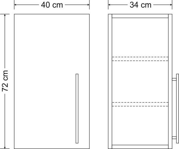 Abmessungen Hängeschrank Premium HSPL 40 Stengel
