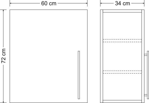 Abmessungen Hängeschrank Premium HSPL 60 Stengel