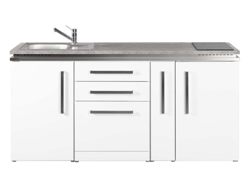 Küche weiß Stengel mit Kühlschrank MDGS 180A Designline
