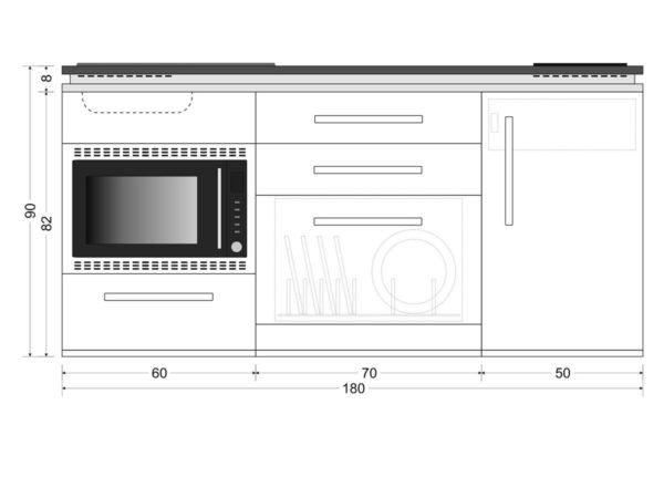 Abmessungen Miniküche MDSMOS 180 mit Kühlschrank Designline weiß