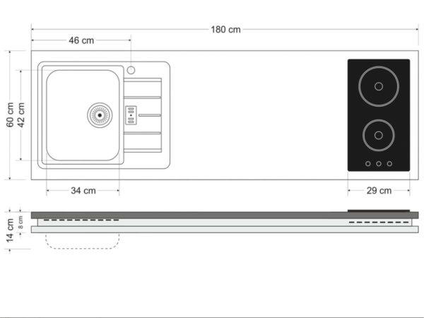 Abmessungen Arbeitsfläche MDGSMOS 180 A mit Kühlschrank