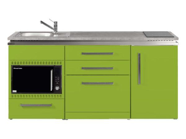 Stengel Pantryküche grün MDGSMOS 180 mit Kühlschrank und Geschirrspüler