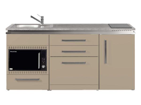 Pantryküche Stengel MDGSMOS 180 sand mit Kühlschrank Designline