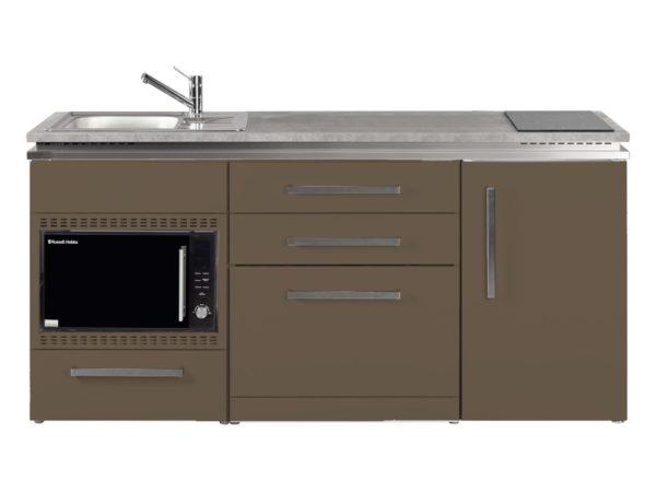Designline Küche MDGSMOS 180 mokka mit Kühlschrank