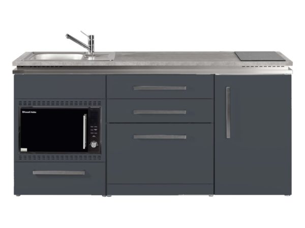 Singleküche MDGSMOS 180 grau mit Kühlschrank Designline